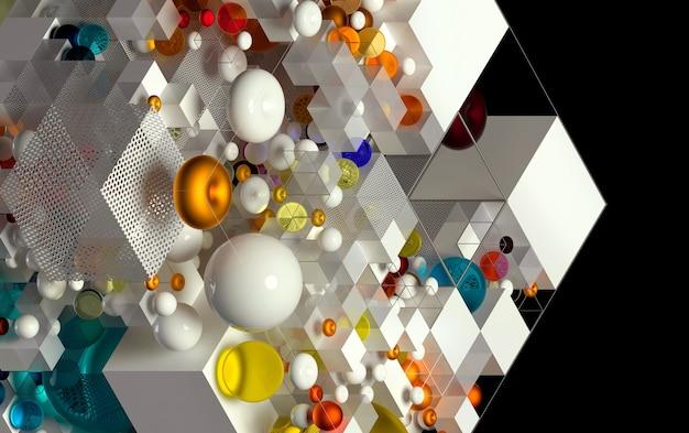 Arte abstrata 3d com fundo 3d baseado em figuras geométricas simples como cubos esferas toro