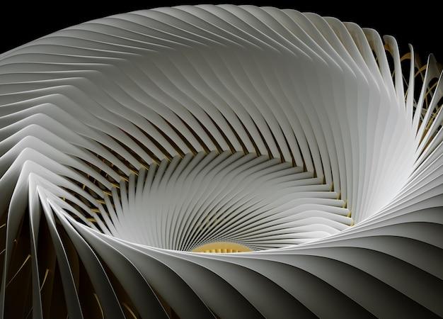 Arte abstrata 3d com parte do motor a jato surreal de turbina de aeronaves de máquinas industriais