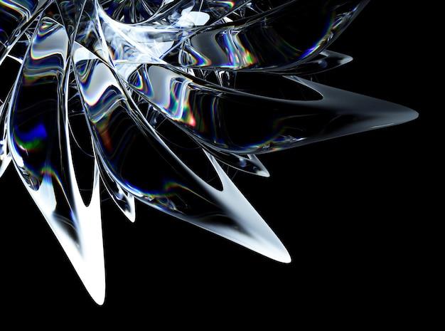 Arte abstrata 3d fundo 3d com partes de flores de vidro surreais em curvas orgânicas arredondadas com linhas onduladas