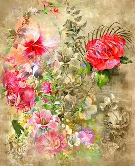 Arte abstrata com flores coloridas em aquarela