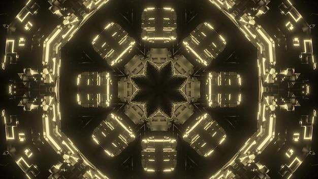 Arte abstrata com fundo visual futurista e portal fantástico com ornamento geométrico dourado brilhante