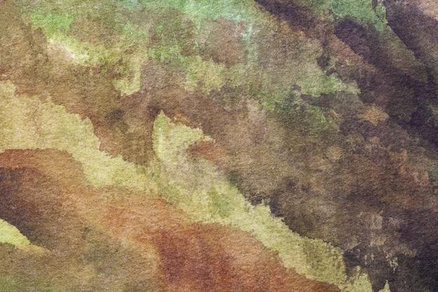 Arte abstrata cores verdes e marrons.