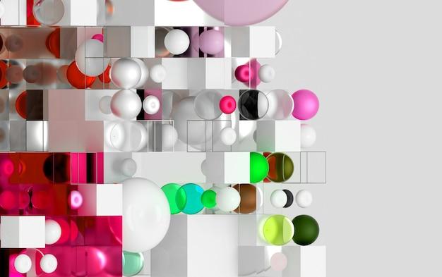 Arte abstrata d jogo de quebra-cabeça cubo ou caixa baseado em figuras geométricas pequenas e grandes como o cubo em uma esfera de estrutura de arame ou toro de bola em vermelho verde rosa roxo e branco