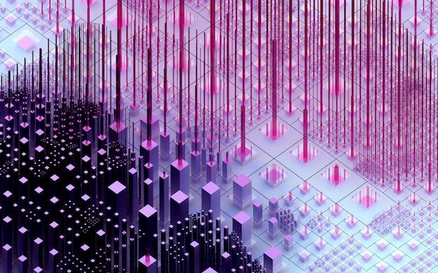 Arte abstrata de fundo surreal com base em caixas nas cores roxas