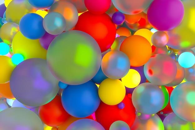 Arte abstrata de fundo surreal com bolas de cor de festa ou balões na cor do arco-íris