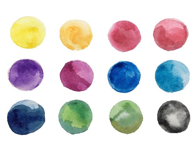 Arte abstrata de tinta brilhante colorida e aquarela texturas em papel branco fundo