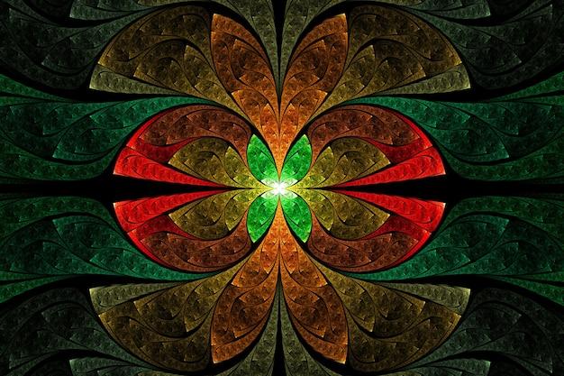 Arte abstrata do fractal. ornamento geométrico floral dourado, verde e vermelho.