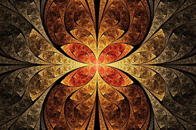 Arte abstrata do fractal. ornamento geométrico floral dourado, vermelho e laranja.