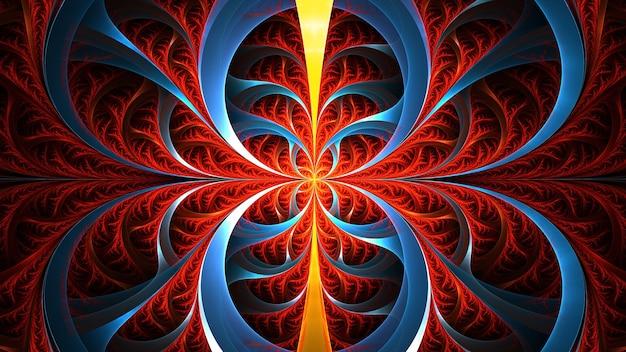 Arte abstrata do fractal. ornamento geométrico floral vermelho e azul.