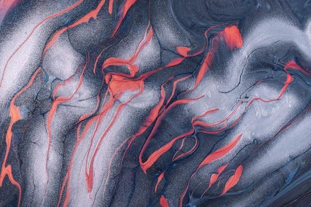 Arte abstrata fluida cinza e prata com fundo de linhas vermelhas
