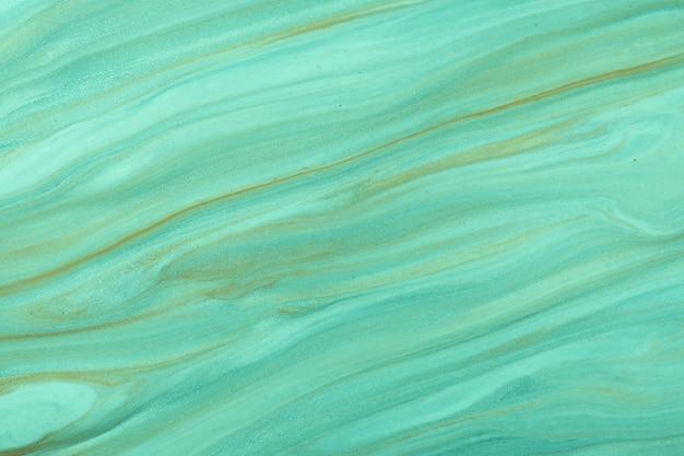 Arte abstrata fluida de fundo verde e cores ciano