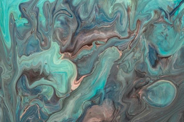 Arte abstrata fluida fundo marrom e cores azuis