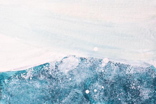 Arte abstrata fundo azul claro e cores brancas. pintura em aquarela sobre tela com gradiente de denim macio.