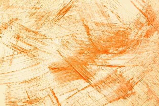 Arte abstrata fundo laranja brilhante e cores. pintura em aquarela sobre tela com traços amarelos e respingos. arte em acrílico sobre papel com padrão pontilhado. pano de fundo de textura.
