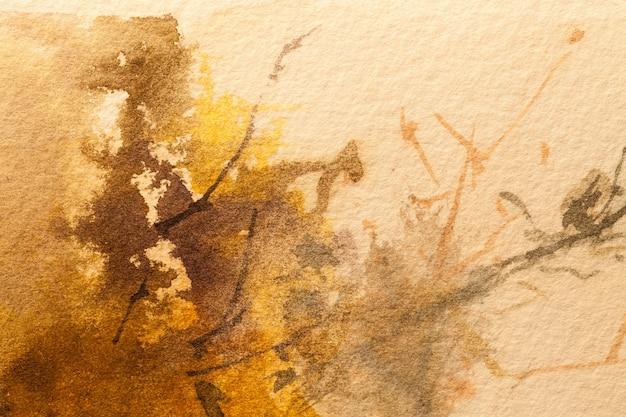 Arte abstrata fundo marrom claro e cores laranja. pintura em aquarela sobre tela com gradiente bege suave. fragmento de arte em papel com padrão. pano de fundo de textura.