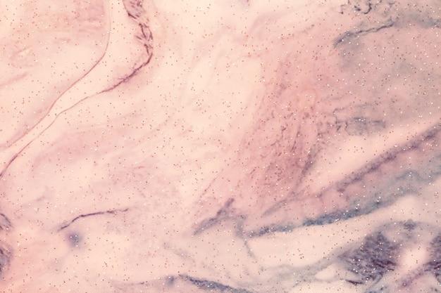Arte abstrata fundo rosa claro e cores azuis. pintura em aquarela sobre tela com brilhos brilhantes e gradiente de rosa.