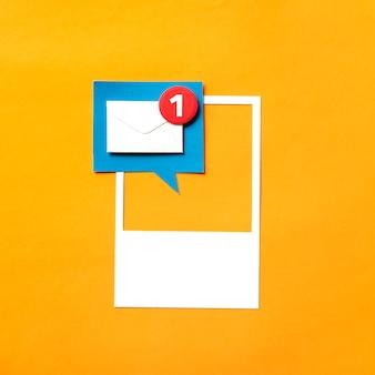 Arte artesanal de papel de notificação caixa de entrada