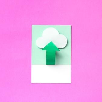 Arte artesanal de papel de upload para a nuvem