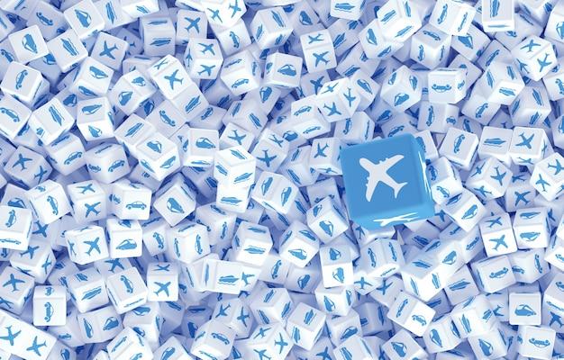 Arte conceitual na ilustração 3d de viagens e entrega de carga