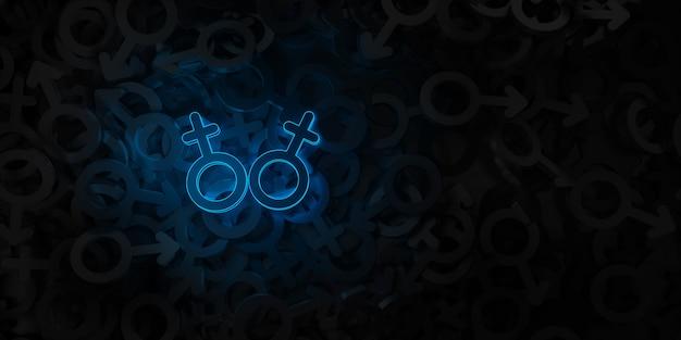 Arte conceitual sobre o tema da ilustração 3d de amor do mesmo sexo
