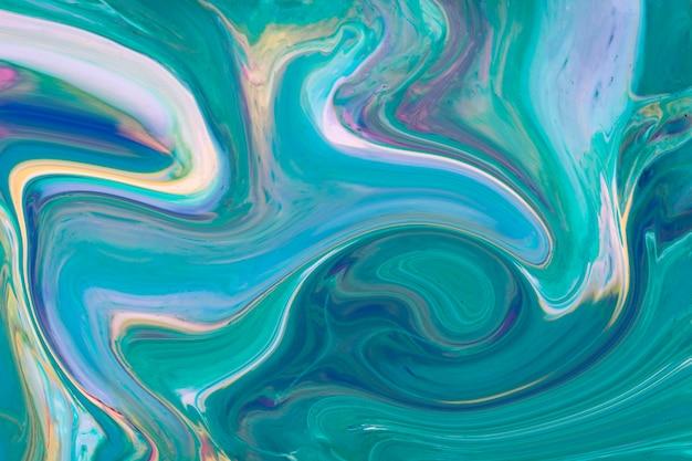 Arte contemporânea acrílica ondulada azul e verde gradiente
