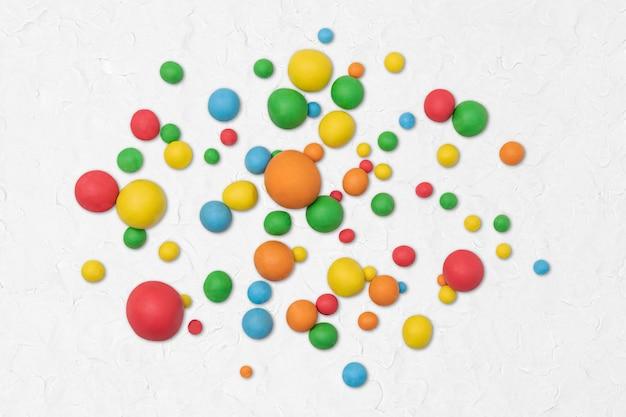 Arte criativa artesanal de bolas coloridas de argila seca para crianças