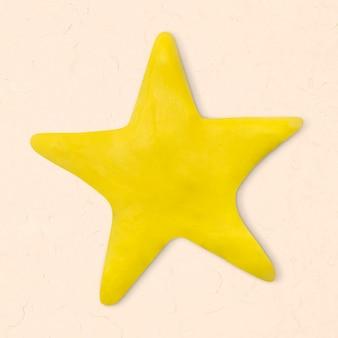Arte criativa artesanal fofa artesanal de argila estrela amarela