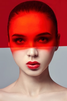 Arte da moda pura pele perfeita e maquiagem natural