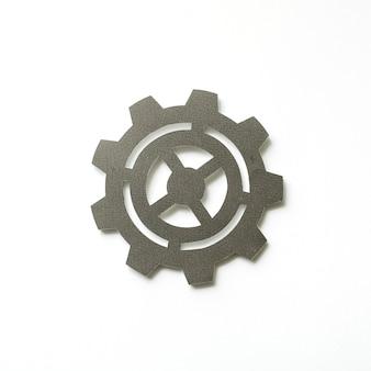 Arte de artesanato de papel de ícone de engrenagem