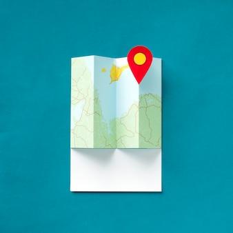 Arte de artesanato de papel de um mapa com um ponteiro