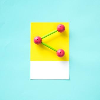 Arte de artesanato de papel do ícone de compartilhamento