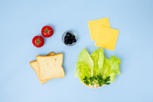 Arte de comida divertida para crianças. sanduíche de joaninha na parede azul. como fazer café da manhã criativo para criança em casa. instruções passo a passo, vista de cima. conjunto de alimentos.