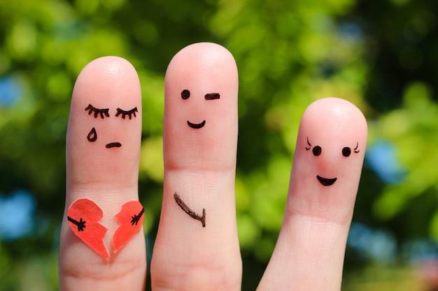 Arte de dedo de pessoas. homem flerta com mulher. outra garota está segurando um coração partido. conceito de traição no relacionamento.