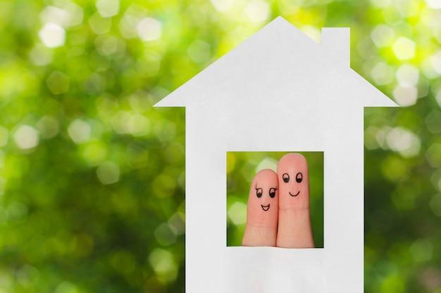 Arte de dedo de uma família. família, olhar, saída casa