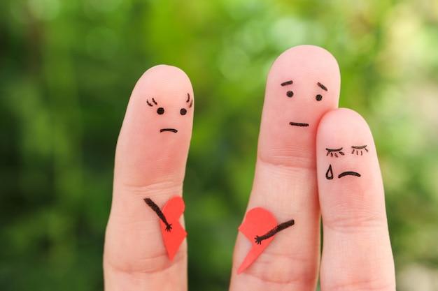 Arte de dedos da família durante a briga