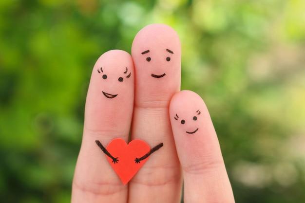 Arte de dedos da família feliz.
