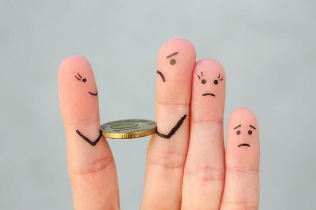 Arte de dedos da família tristeza. homem devolve dinheiro.