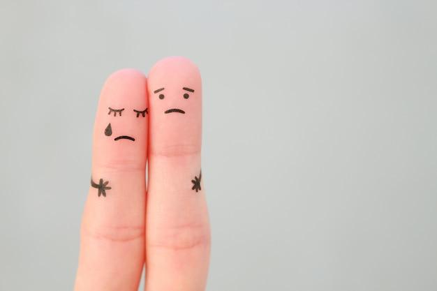 Arte de dedos de casal descontente. conceito de solução para os problemas da família, apoio em situações difíceis.