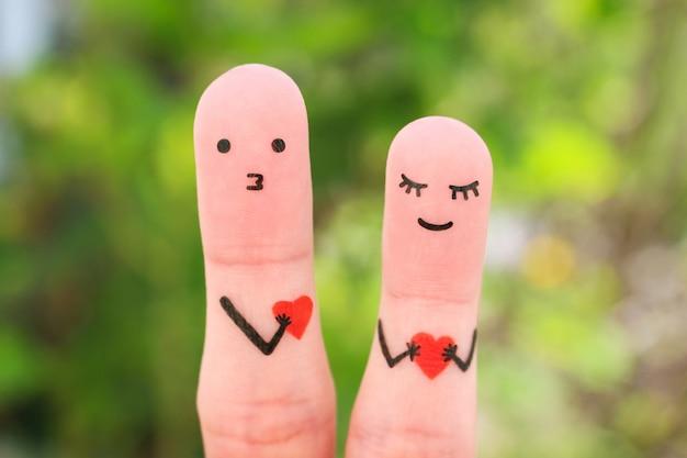 Arte de dedos de casal feliz. conceito de declaração de amor.