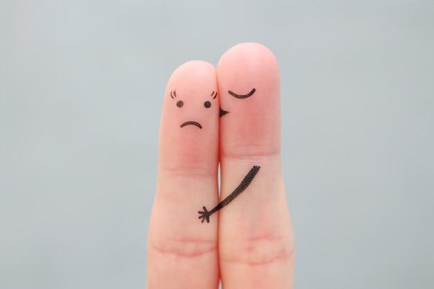 Arte de dedos de casal. o conceito de mulher não gosta do homem que a ama.