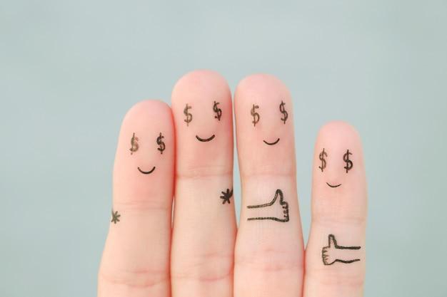 Arte de dedos de família feliz. conceito de homem e mulher com cifrão em vez de olhos.