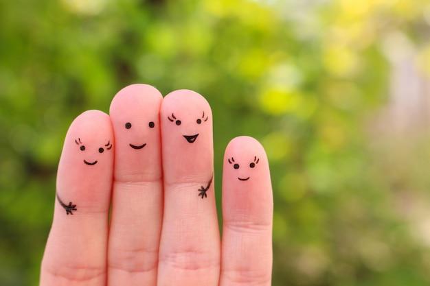 Arte de dedos de namorada feliz.