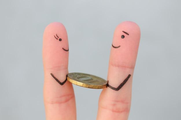 Arte de dedos de pessoas felizes