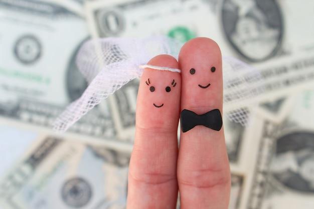 Arte de dedos de um casal feliz. abraço dos noivos