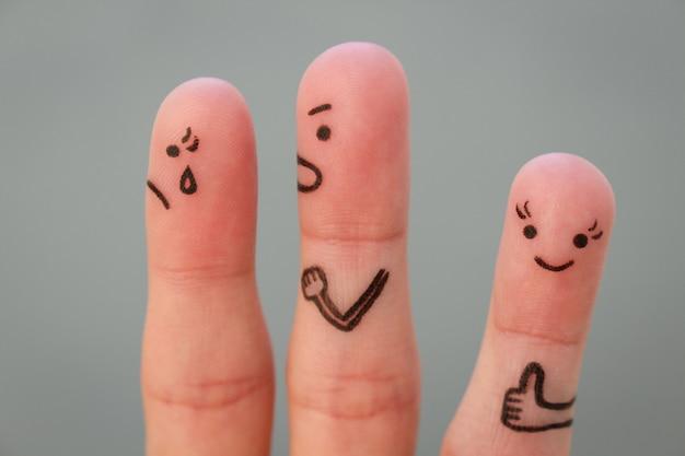 Arte de dedos do casal durante a briga. outra mulher é feliz.