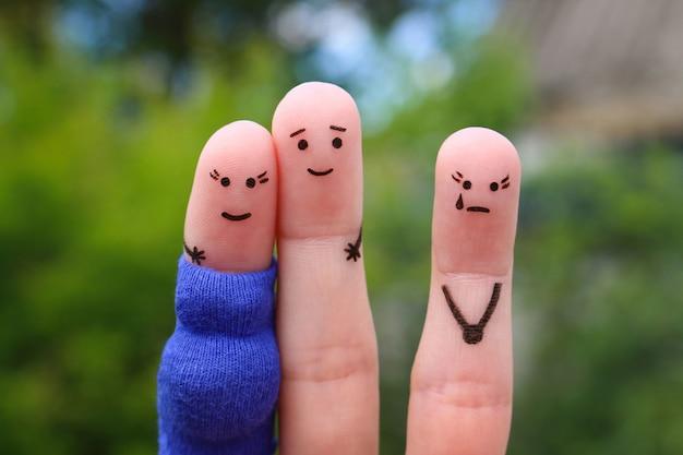 Arte de dedos do casal feliz. mulher está grávida. outra garota está com ciúmes e raiva.