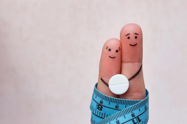 Arte de dedos do casal feliz