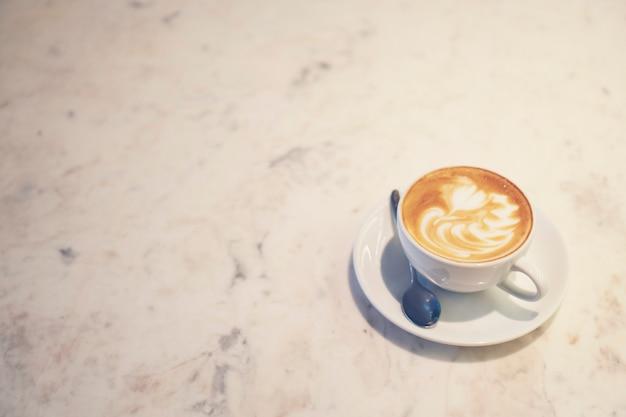Arte de latte de café, imagem de filtro vintage