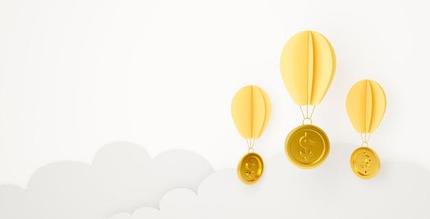 Arte de papel de dinheiro cifrão pendurado balão na nuvem.