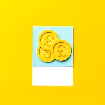 Arte de papel ofício de moedas de libra esterlina